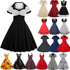 Womens Vintage Style 50s Rockabilly Evening Party Swing Flared Dress Plus Size