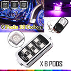 6x Pods ATV UTV Under Glow Accent Neon Light Kit 8 Color Brake Light for Honda