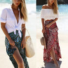 US NEW Women Ladies Boho Floral Skirt Maxi Summer Beach Long Casual Skirt Dress