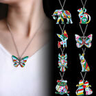 Charm Butterfly Necklace Cat Dog Pendant Silver Chain Colorful Paint Jewelry New