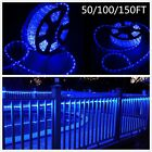 Blue 50 100 150 FT LED Rope Light Strip In Outdoor Decor Lights Xmas Fest