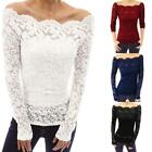 Womens Off Shoulder Floral Lace Hollow Out Tops Slim Long Sleeve Blouse T Shirt