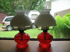 Vintage Oil Lamp Red Glass Hobnail Milk Glass Shade Frosted Glass Chimney Pair