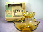 Vintage Anchor Hocking Amber Gold Glass 3 Piece Chip and Dip Set With Box