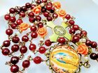 Victorian Style Brazilian Red Ruby Coral Pink Roses Lady Guadeloupe Cameo Rosary