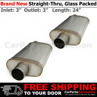HighFlow Straight Thru Universal Mufflers Set 3in Offset Inlet Center Out 256229