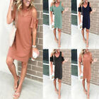 Womens Summer Off Shoulder Loose T Shirt Dress Solid Plus Size Short Sundress US