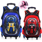 Double Six Wheels Trolley School Book Bags Rolling Luggage Kids Boys Backpack