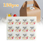 120Pcs Flower Thank You Sticker Paper Labels Round Seal Adhesive Packaging Tag