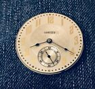 VINTAGE HAMPDEN WATCH CO 12S OPEN FACE POCKET WATCH MOVEMENT RUNNING  MINT DIAL