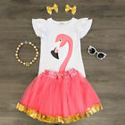 US Toddler Kids Baby Girl Little Princess Top Romper Tutu Skirt Outfits Clothes