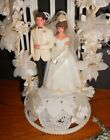 Vintage 1970s Wilton Bride  Groom Wedding Cake Topper with Archway  Cross