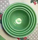 VTG Anchor Hocking Fire King~Jadeite Jadite Green~Swirl Bowl Set~Nest Of 4