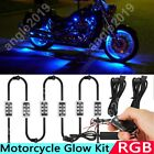 6pc 36 LED Motorcycle Under Glow Light Kit Remote Control Multi Color Neon Strip