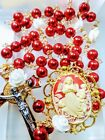Beautiful Vatican Style Angel Cameo Ruby Red Pearl White Roses Rosary Swarovski