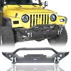 Black Steel Front Bumper w Bull Bar  Led Lights Fit 1997 2006 Jeep Wrangler TJ