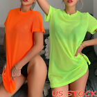 Womens Sheer Bikini Cover Up Swimwear Swim Bathing Suit Summer Beach Mini Dress