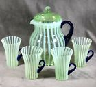 Fenton Vaseline Rib Optic Opalescent Pitcher Set 4 Cups Cobalt Handles C1920s