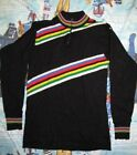 Vintage GIORDANA Black Color Striped Winter Wool LS Cycling 1 4 Jersey 4 S Italy