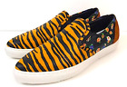 Coach Tiger Print Shoes Size 8 M Sneakers Leather Orange Black Q8178 New in Box