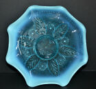 Northwood Netted Roses Blue Opalescent Glass Bowl