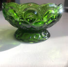 Vintage Green Moon and Stars Footed Compote Candy Dish from L.E. Smith 4 1/2