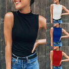 Women Sleeveless Turtleneck Solid Color Casual Blouse Top T Shirt Plus Size Tops