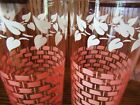 11 Vintage Federal Glass Mid Century Tumbler Juice Pink Weave White Leaves Excel