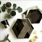 Gold Black Disposable Tableware Set Party Paper Plates Napkins Cups Straws Birth