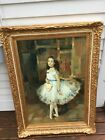 Large Oil Painting Of Young Female Ballerina Signed