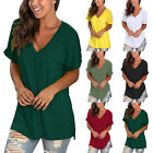 Womens V Neck Short sleeved Loose T shirt High Low Side Split Tunic Casual Tops