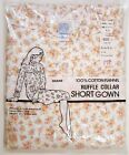 WOMENS VINTAGE NIGHTGOWN SEARS FLANNEL RUFFLE COLLAR SHORT GOWN Sz LARGE NEW NOS