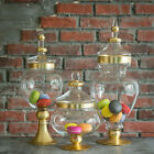 3 pcs 11 16 18 Clear with Gold Glass Apothecary Jars Containers with Lids