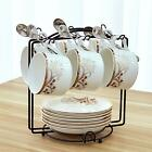 Tea Cup and Saucer Set Coffee Cup with Saucer and Spoon Set of 6