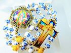 Beautiful Victorian Style Flower Ceramic Yellow Roses Guadeloupe Cameo Rosary