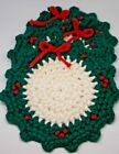 Vintage Crochet Lot Handmade Pot Holder Trivet Christmas Wreath