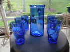 Cobalt Blue Glass Pitcher w Handpainted Flowers 6 Matching Tumblers Gold Accents