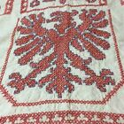 Vtg Prussian German Eagle Linen Tablecloth Cross Stitch 30s 40s Coat of Arms
