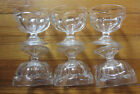 Set of 6 Vintage Clear Glass Footed Dessert / Sherbet / Pudding Cups