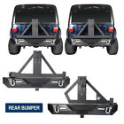 Textured Steel Rear Bumper w Tire Carrier for Jeep Wrangler 1987 2006 YJ TJ