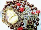 Beautiful Bronze Pearl Bead Antique Style Jesus Cameo Red Roses Catholic Rosary