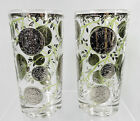 Culver Silver Coin Glasses Tumblers Highball Set of 2 Signed Mid Century MCM