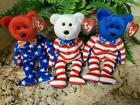 TY~LIBERTY TRIO~Red White & Blue Heads~USA Exclusive Bears~8