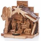 Small Hand Carved Nativity Set Scene With Bark Roof Made In Bethlehem NAT022