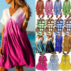 Plus Size Womens Floral Baggy Tunic Dress Lady Summer Loose Smock Dress Sundress