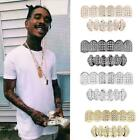 4 Farbe Diamond Cut Custom Fit Grills überzogen Top Bottom Hip Hop Zähne-Gr U1W4