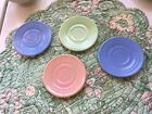 4 Vintage 1940's Hazel Atlas Child's Pastel Milk Glass MINT Saucers