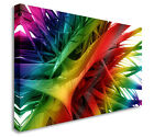 Framed Contemporary Abstract RAINBOW SPIKES Canvas Wall Art Picture Print
