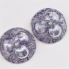 Vtg Tibet Nepal Hammered 925 Sterling Silver Round Studs Earrings W Beads