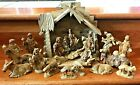 Vintage Nativity Scene Manger Hand carved Wooden Figurines 21 pieces Free Ship